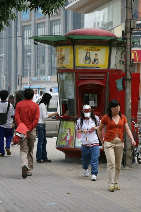 Staffed pay phone in China