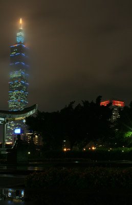 Taipei 101 with seated Sun Yat-sen