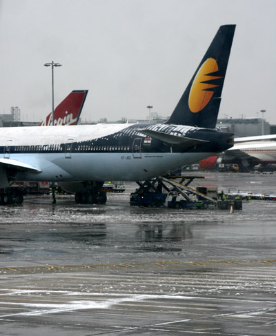 Jet Airways plane with snow